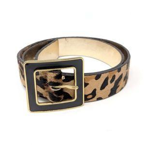 Nine West Leather Cow Hair Leopard Print Belt